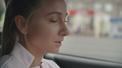 Young Female Driver Talking on Phone in Car Stock Footage