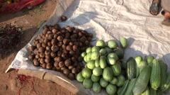 Varieties of cucumbers and other vegetables in the Indian market Stock Footage