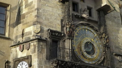 Figures that pop up at the Prague astronomical clock Orloj Stock Footage