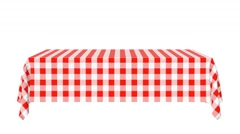 Rectangular horizontal tablecloth with red checkered pattern Stock Footage