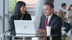 Two mature business people meet and use laptop computer Arkistovideo