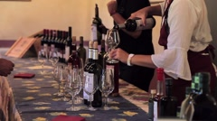 Wine tasting at the winery in Chianti region Stock Footage
