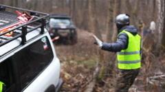 KIEV, UKRAINE - November 28, 2015: SUV stuck in the mud Stock Footage
