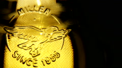 World beer brand Miller shot rotation Stock Footage