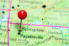 Fayetteville pinned on a map of Arkansas, USA Stock Photos