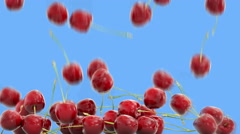 Cherrys falling with water drops.Realistic animation.Isolate green screen Stock Footage