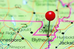 Blytheville pinned on a map of Arkansas, USA Stock Photos