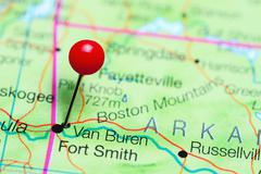 Van Buren pinned on a map of Arkansas, USA Stock Photos