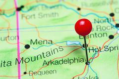 Arkadelphia pinned on a map of Arkansas, USA Stock Photos