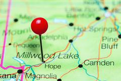 Hope pinned on a map of Arkansas, USA Stock Photos