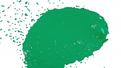 Green fluid stream hits the screen in slow motion. clear liquid Stock Footage