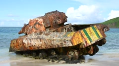 Famous Sherman tank on Flamenco Beach in Isla Culebra Stock Footage