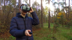 Teenager with glasses of virtual reality Stock Footage
