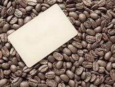Coffee beans with blank frame card for indcription flyer design Stock Photos