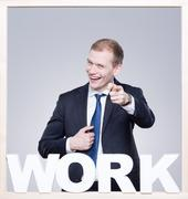 Businessman in suit during work Stock Photos