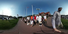 360Vr Video Crowd at Kites Festival is Posing Leba Tourists in Front of Camera Stock Footage