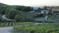 Panoramic views of the hills and land wine in Tuscany Stock Footage