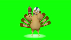 Cute turkey with football - 3d looping animation on green background. Stock Footage