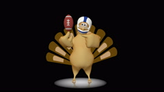 Cute turkey with football - 3d looping animation on black background. Stock Footage