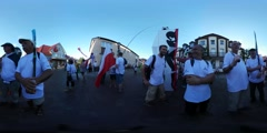 360Vr Video Happy Men at Kites Festival Leba Holding Flags Families at the City Stock Footage
