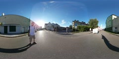 360Vr Video Crowd is Walking at Kites Festival Leba City Street Square Stock Footage