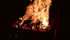 Burning fire in a hot fireplace Stock Footage