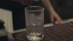 Making a Cocktail - Mixing Liqueur and Ice Stock Footage