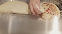 Making a Pizza - Adding the Cheese Stock Footage