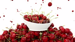 Fresh cherrys. 3d food concept. Realistic animation. Isolate on white Stock Footage