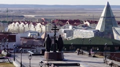View of the Khanty-Mansiysk city from Church of the Resurrection. Stock Footage