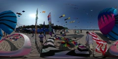 360Vr Video Kites Festival Leba Poland Fish Shape Kite Flags Small Colorful Stock Footage