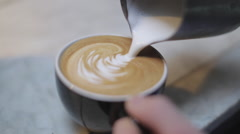 Making a Coffee - Latte Art Stock Footage