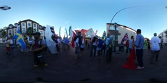 360Vr Video Multinational Crowd at Kites Festival Leba Kids Parents at the City Stock Footage