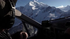 Alaska Bush Pilot with Mt Fairweather Behind Shallow DOF Stock Footage