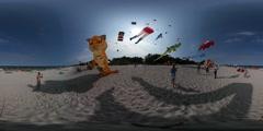 360Vr Video People at Kites Festival Leba Man Flies Tiger Shape Kite Crocodile Stock Footage