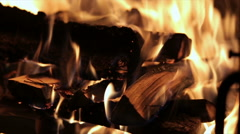 Slow motion of Fireplace burning. Warm cozy burning fire in a brick fireplace Stock Footage