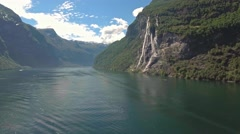 Beautiful view of Seven Sisters Waterfall, Geirangerfjord, Norway Stock Footage