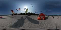 360Vr Video Kites Festival Leba Clownfish Shape Kite Crocodile Dragon Shapes Stock Footage