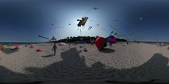 360Vr Video Cameramen at Kites Festival Leba Poland Funnel Kite Crocodile Bear Stock Footage