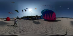 360Vr Video Pink and Blue Fish Shape Kite Man Kid Fly Kites on Seaside Kites Stock Footage