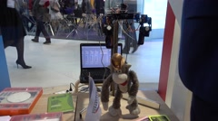 Monkey robot at Open Innovations 2016 forum in new building Skolkovo Technopark Stock Footage