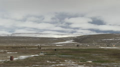 Landscape showing dried grass and snowy hills in the background. Stock Footage