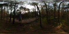360Vr Video Man is Walking by Park Filming Juvenile Forest Sun Shines Through Stock Footage