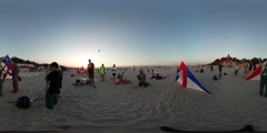 360Vr Video People at Kites Festival Leba Poland People Going to Fly Triangular Stock Footage