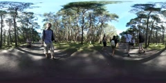 360Vr Video Cameraman at Kites Festival Leba Walking People Tourists in Park Stock Footage
