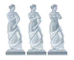 Sculpture Venus - goddess of love.Vector flat isolated illustration on white  Stock Illustration