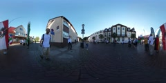 360Vr Video People Hold Flags Kites Festival Leba Kids Parents at the City Stock Footage