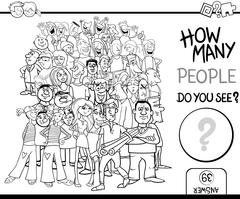 Counting people game coloring page Stock Illustration