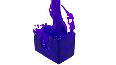 Purple fluid fills up a container slowly. clear liquid Stock Footage
