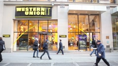 Western Union Store New York City Stock Footage